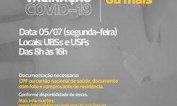 COVID-19: Cascavel retoma vacina para pessoas com 40 anos ou mais na segunda (05)